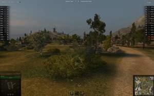 World of Tanks : Tarnen für Anfänger: Wenn Sie nur weiße Linien sehen, sind Sie aus dieser Richtung für den Feind unsichtbar, solange er nicht näher als 50 Meter herankommt.
