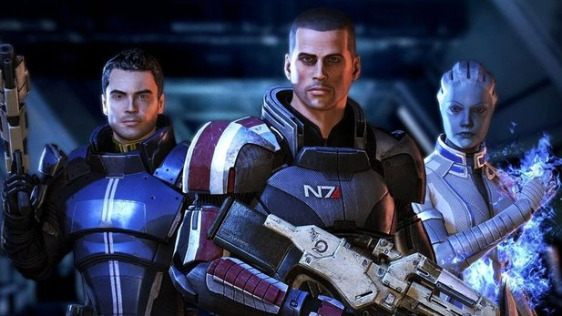 Kaidan, Shepard und Liara in Mass Effect 3.