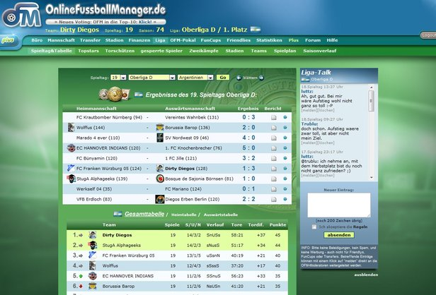 Der Live Chat in Form des Liga-Talks.