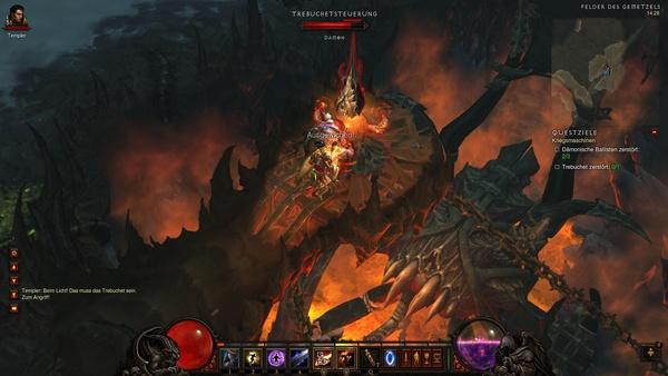 Diablo 3 - Komplettlösung : Die Trebuchet-Steuerung sollen wir ins Pales Auftrag zerstören.