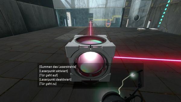 Portal 2 : Aktivieren Sie die Vorrichtung durch das Energiefeld.