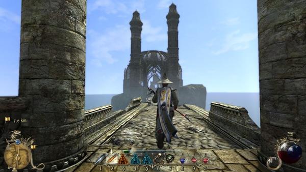 Two Worlds 2 : Eine abseits gelegene Festung, die uns als Basis und Heimatstandort dient, bietet einen schönen Rundum-Blick über das Meer und Alsorna.