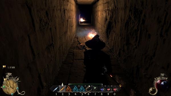 Two Worlds 2 : In diesem stockfinsteren Dungeon müssen wir selber für die Beleuchtung sorgen. Während Feuerbälle die Wände angenehme warm und hell erleuchten…