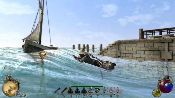 Two Worlds 2 : Schwimmen kann der Held auch, allerdings wirkt das wenig überzeugend oder realitätsnah.