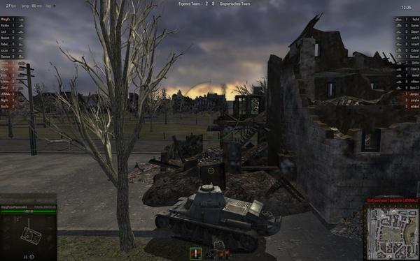 World of Tanks : Achtung bei Schüssen aus der Außenansicht! Mit der Maus steuern wir den oberen Kreis, treffen würden wir jedoch nur die Wand vor uns – zu erkennen an der eigentlichen Trefferzone, dem kleinen Kreis.