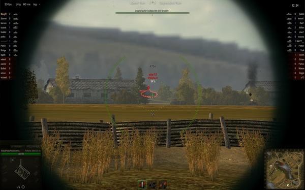 World of Tanks : Wir haben diesen schnellen Feind mit der rechten Maustaste markiert, als er rechts aus der Deckung geballert kam...