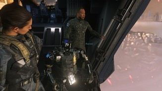 <b>Call of Duty: Infinite Warfare</b><br>Von links nach rechts: Kollegin Salt(er), der Roboter Ethan und unser Boss Raines.