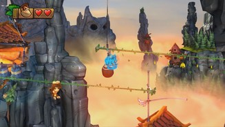 <b>Donkey Kong Country: Tropical Freeze</b><br>Viele Levels erfordern präzises Sprungtiming und gute Reflexe - wir hier in der Bergwelt.