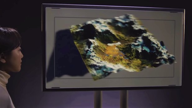 The 8K hologram monitor can display 3D content from 45 different perspectives at once. Depending on where you are looking from, you will see a different angle of the 3D image.