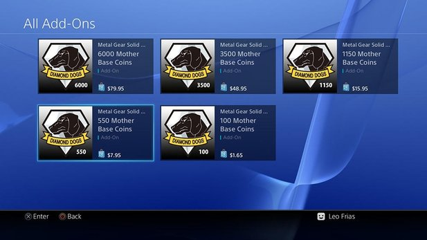 Mother Base Coins in verschiedenen Bundles von ca. 2-80 USD im Playstation Network