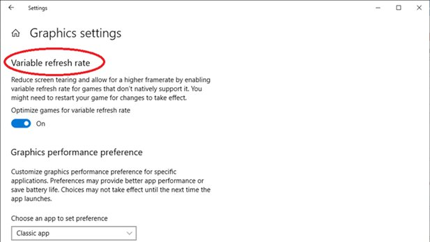 Ab Windows 10 1903 ist die VRR-Option in den Grafik-Settings enthalten.