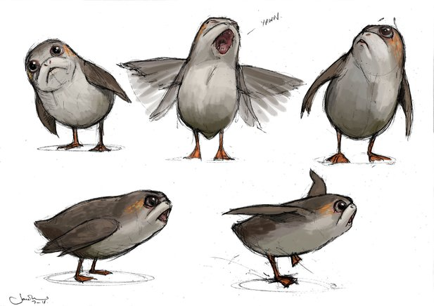 Concept-Art der Porgs aus Star Wars: Episode 8.