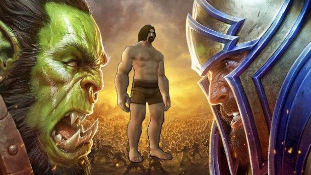 Vor dem nackten Paladin fürchten sich sowohl die Menschen als auch Orcs in Wow.