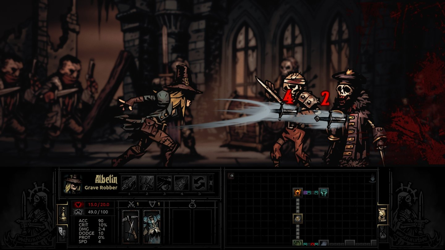 Darkest Dungeon - Early-Access-ScreenshotsManche Atttacken wie der Dolchwurf treffen mehrere Gegner gleichzeitig.