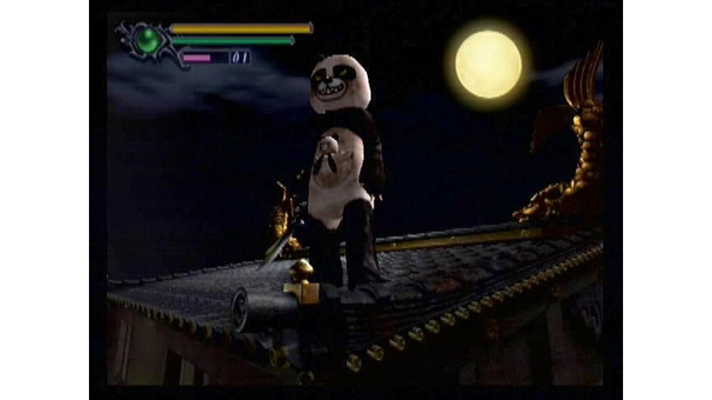 Demons are a cowardly, superstitious lot. Samanosuke, aka Pandaman, strikes a heroic pose against the night sky.