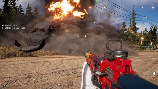 Die Explosionen in Far Cry 5 machen ordentlich was her.