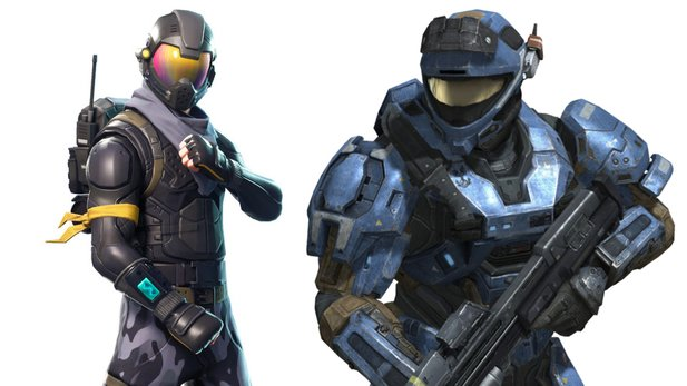 Links: Rogue Agent-Skin aus Fortnite. Rechts: Recon-Rüstung aus Halo.
