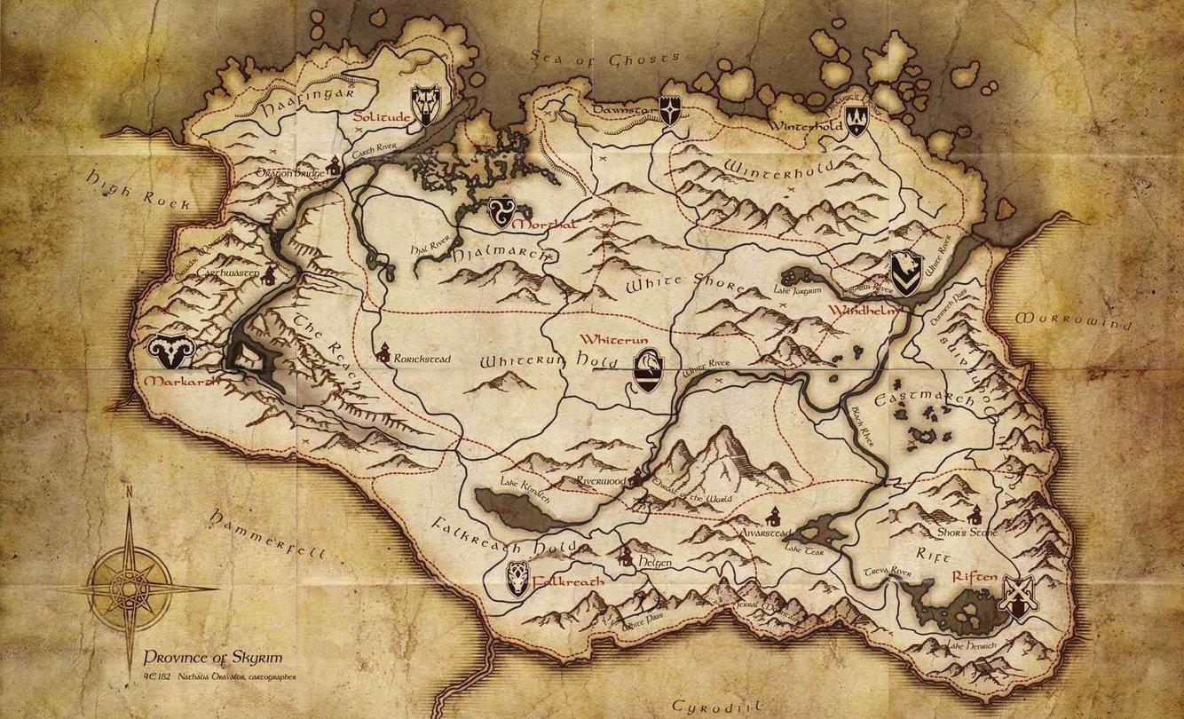 karte skyrim The Elder Scrolls V: Skyrim   Landkarte zeigt riesige Spielwelt