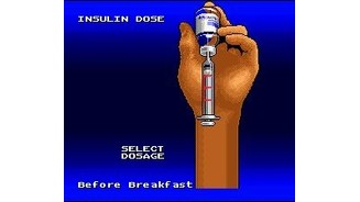 Before beginning a level, Captain Novolin needs to inject the right dose of insulin.