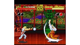 Geese Howard and Andy Bogard launching projectiles against each other