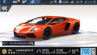 <b>Need for Speed: No Limits</b><br>Im Showroom darf man sämtliche 3D-Karren von allen Seiten betrachten – mit insgesamt 22 Autos ist das Angebot jedoch recht dürftig.