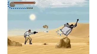 Test your blaster accuracy shooting some enemies, like this unprotected Tusken Raider.