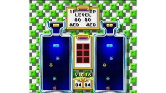 The beginning of a 2PLAYER GAME in Dr. Mario.