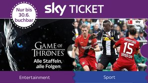 Sky Ticket-Angebot - 3 Monate Serien-Highlights & Supersport Tagesticket für 4,99 Euro