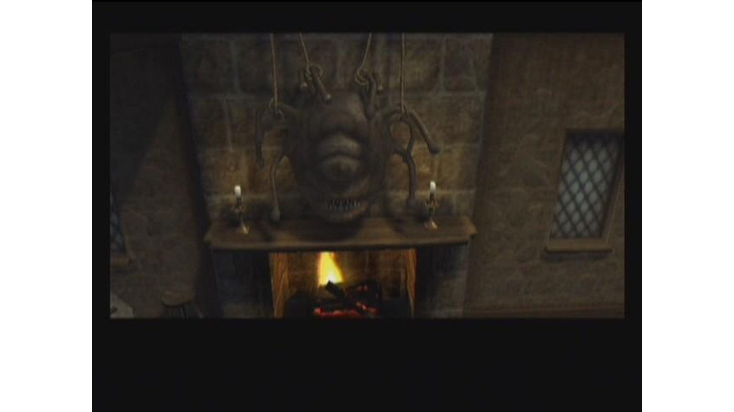 When you enter the tavern, you notice this stuffed creature above the fireplace. Behold the beholder!