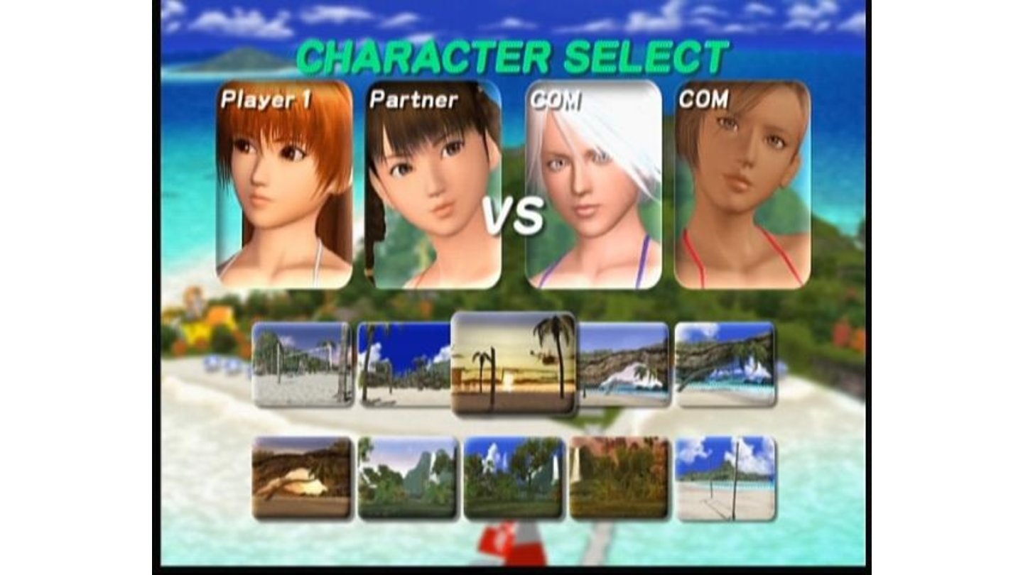 Instead of playing scenario, you can choose Exhibition and go straight for the volleyball match between any characters (and swimsuits) you select.