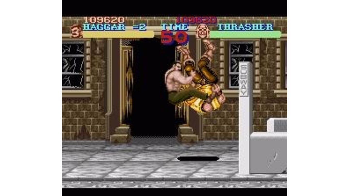 Haggar performs a pile driver on the first boss, Trasher