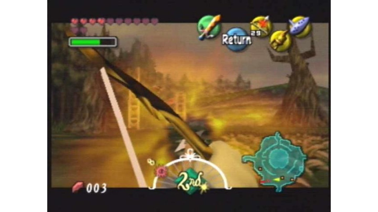Link prepares to unleash a devastating volley of flaming arrows at an annoying eagle.