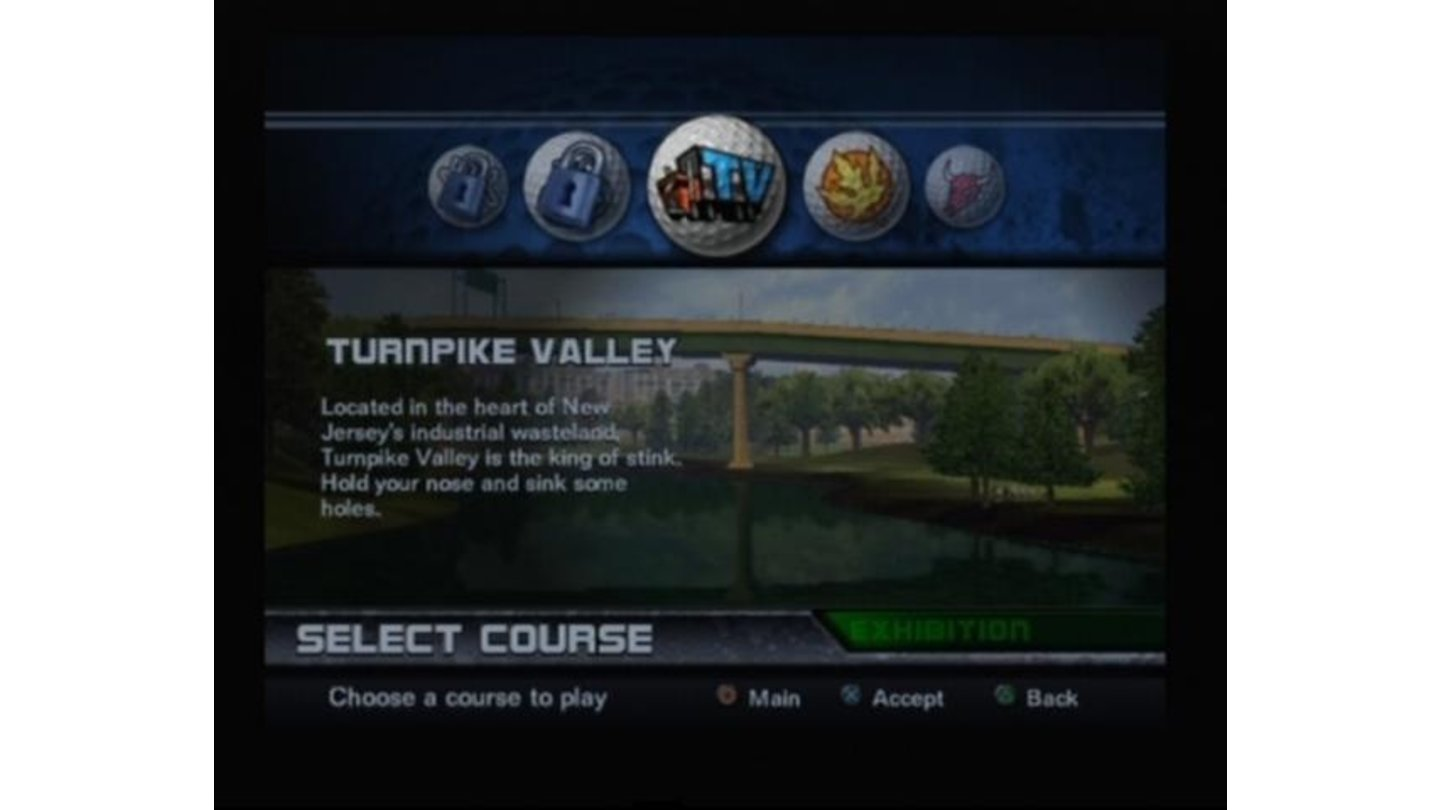 Course selection screen
