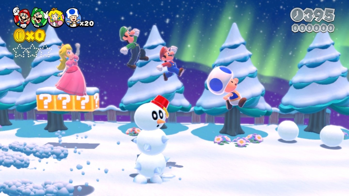 Super Mario 3D World... geht es in eine Eisregion.