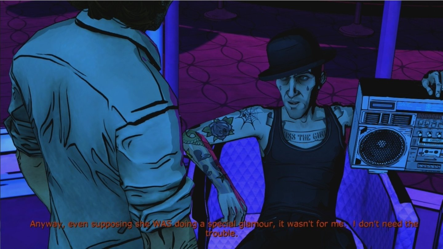 The Wolf Among Us - Episode 2Dem Großmaul Georgie gehört der Strip Club »Pudding & Pie«. Er erweist sich jedoch als wenig auskunftsfreudig und macht uns das Leben schwer.